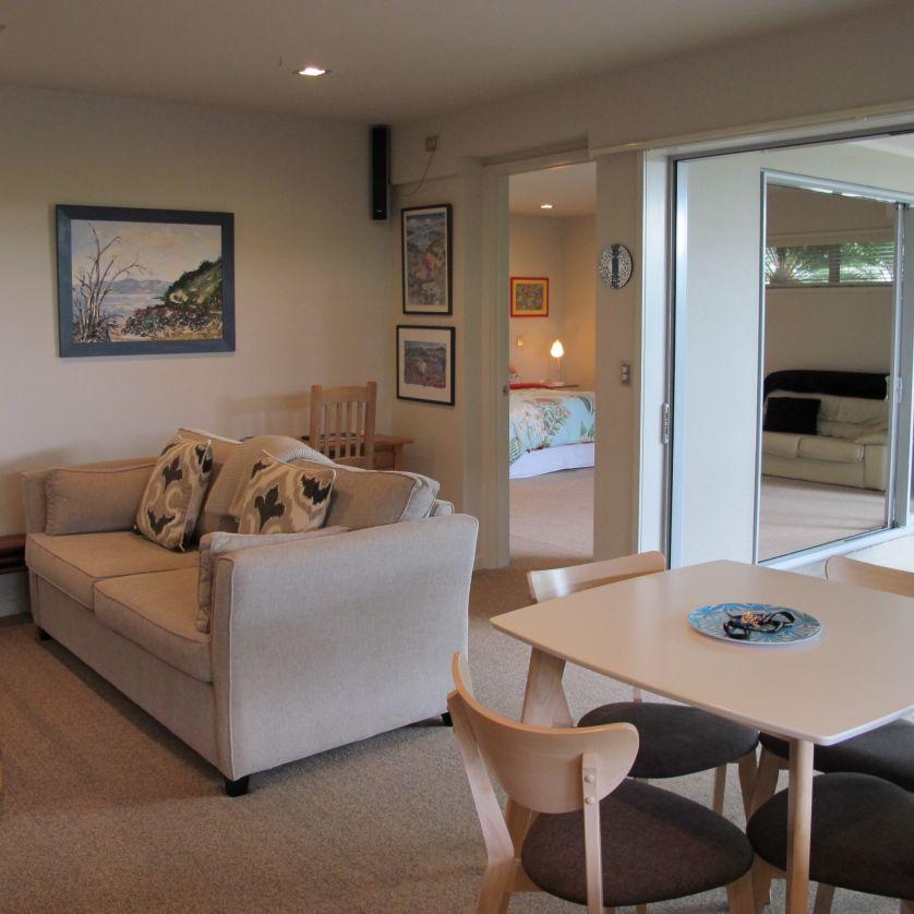 Open plan - great indoor outdoor flow.  Quality new sofa bed